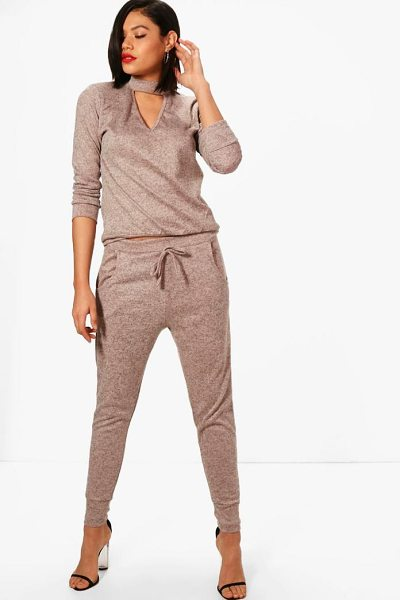 Boohoo Choker Knitted Loungewear Set in nude