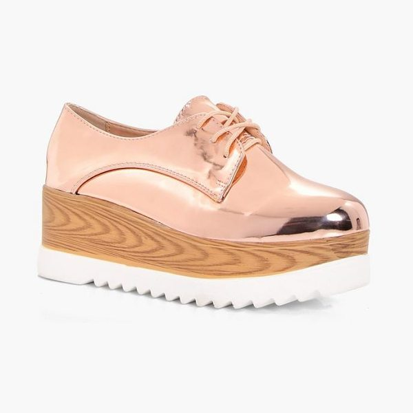 Boohoo Olivia Cleated Brogue in rose gold - We'll make sure your shoes keep you one stylish step...