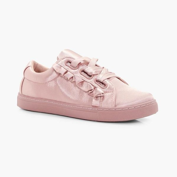 Boohoo Olivia Frill Trim Ribbon Lace Trainers in nude - We'll make sure your shoes keep you one stylish step...