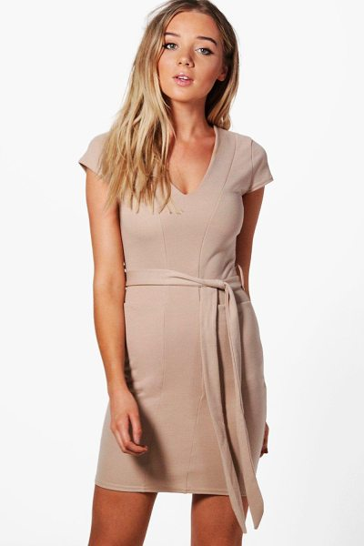 Boohoo Olivia Pocket Front Belted Midi Dress in stone - Dresses are the most-wanted wardrobe item for...