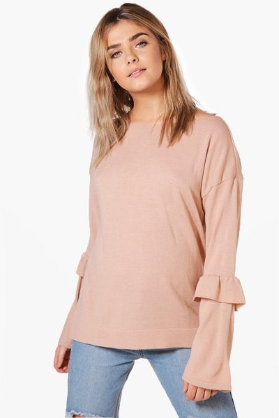 Boohoo Olivia Ruffle Sleeve Fine Knit Jumper in nude - Nail new season knitwear in the jumpers and cardigans...