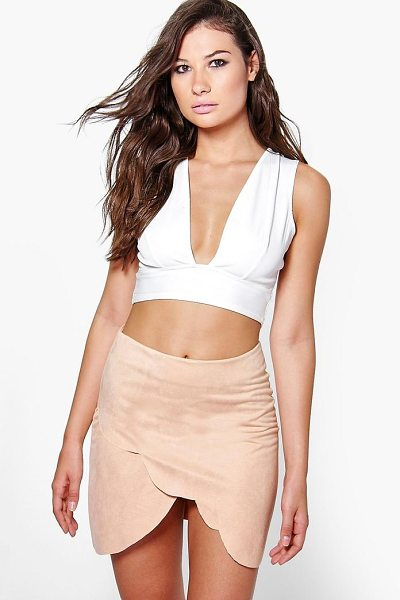 Boohoo Olivia Scallop Edge Mini Skirt in beige - Skirts are the statement separate in every wardrobe This...