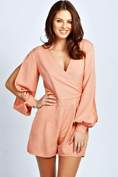 BOOHOO Olivia Split Sleeve Cross Over Front Playsuit - Perfect for day or play, a playsuit will solve your...