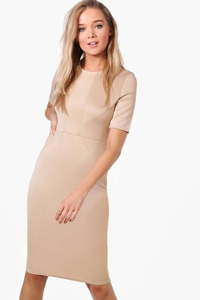 Boohoo Olivia Tailored Midi Dress in stone - Dresses are the most-wanted wardrobe item for...