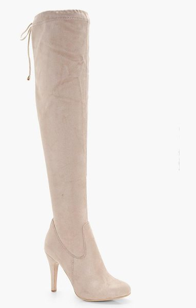 Boohoo Tie Back Over the Knee Boot in nude - We'll make sure your shoes keep you one stylish step...