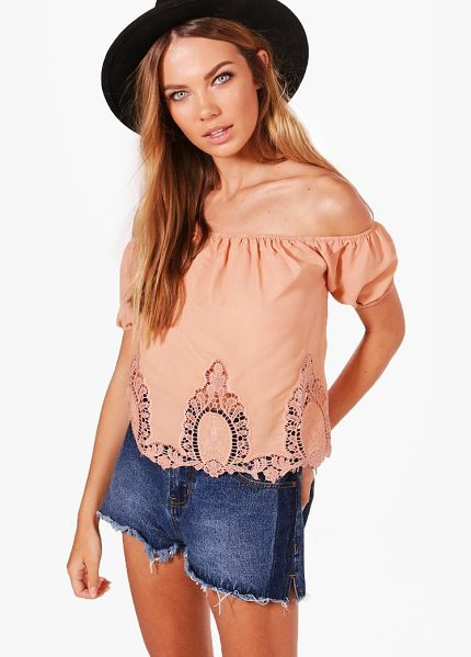 BOOHOO Crochet Trim Off The Shoulder Top - Steal the style top spot in a statement separate from...