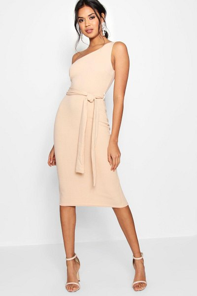 Boohoo One Shoulder Belted Midi Dress in stone
