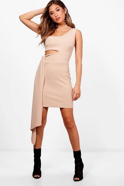 Boohoo One Shoulder Cut Out Drape Bodycon Dress in stone - Dresses are the most-wanted wardrobe item for...
