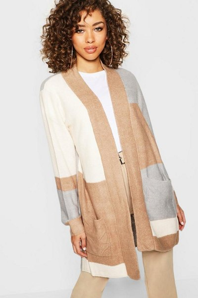 Boohoo Open Front Colour Block Cardigan in stone - Nail new season knitwear in the jumpers and cardigans...
