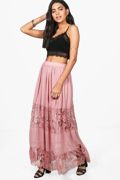 Boohoo Lace Panelled Chiffon Maxi Skirt in rose