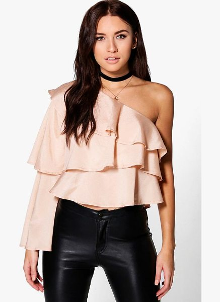 Boohoo One Shoulder Ruffle Top in nude - Steal the style top spot in a statement separate from...