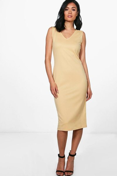 Boohoo Orlagh V Neck Sleeveless Midi Dress in honeydew - Dresses are the most-wanted wardrobe item for...
