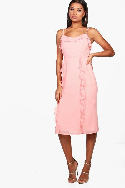 Boohoo Chiffon Strappy Ruffle Midi Dress in pink - Dresses are the most-wanted wardrobe item for...