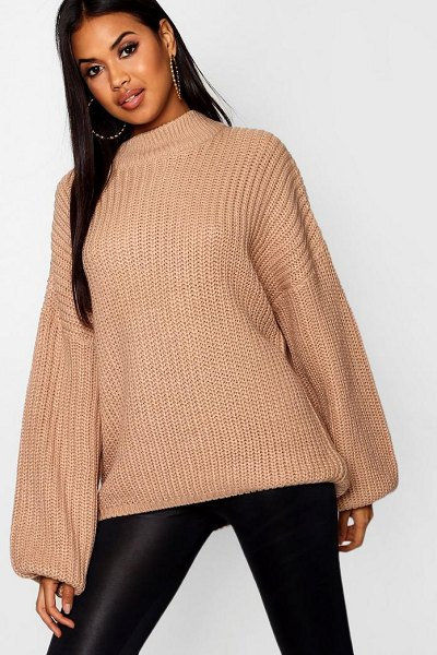 Boohoo Oversized Bell Sleeve Jumper in camel - Nail new season knitwear in the jumpers and cardigans...
