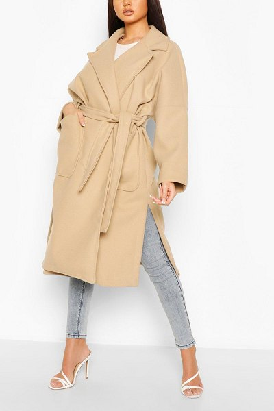 Boohoo Oversized Belted Wool Look Coat in stone