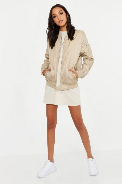Boohoo Oversized Bomber Jacket in stone - Wrap up in the latest coats and jackets and get...