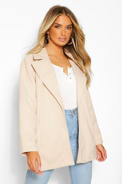 Boohoo Oversized Collared Wool Look Coat in stone