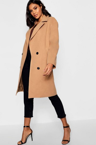 Boohoo Oversized Double Breasted Wool Look Coat in camel
