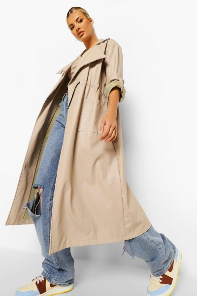 Boohoo Oversized Faux Leather Parka in stone