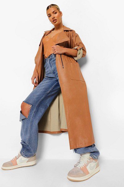 Boohoo Oversized Faux Leather Parka in camel