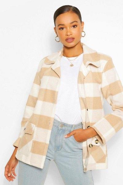 Boohoo Oversized Flannel Coat in stone