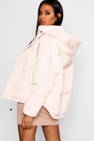 Boohoo Oversized Hooded Puffer Jacket in oyster