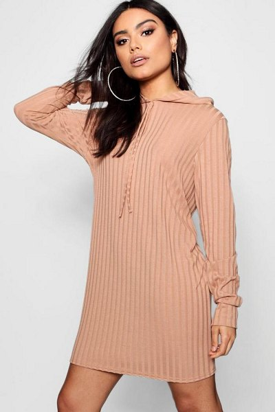 Boohoo Oversized Hooded Rib Knit Dress in camel - Dresses are the  most-wanted wardrobe 09af3f57c