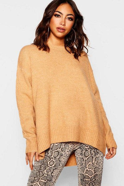 Boohoo Oversized Sweater in camel