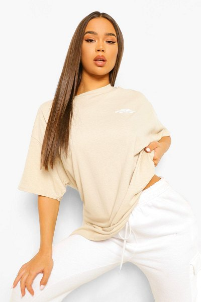 Boohoo Oversized Limited Edition Back Graphic T-Shirt in stone