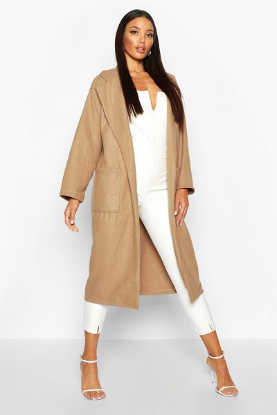Boohoo Oversized Patch Packet Wool Look Coat in camel