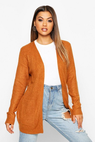 Boohoo Oversized Pocket Detail Cardigan in ginger