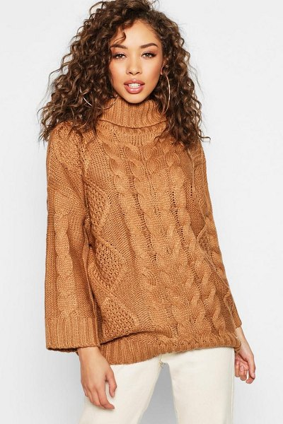 Boohoo Oversized Roll Neck Cable Jumper in camel - Nail new season knitwear in the jumpers and cardigans...