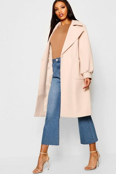 Boohoo Oversized Sleeve Wool Look Coat in eggshell - Wrap up in the latest coats and jackets and get...