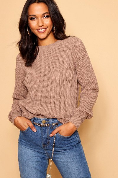 Boohoo Oversized Sweater in taupe