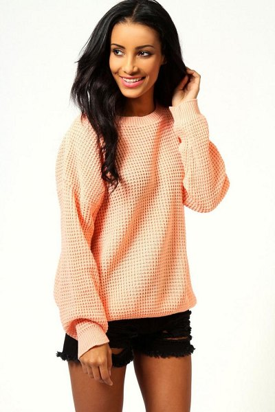 Boohoo Oversized Vintage Sweater in apricot