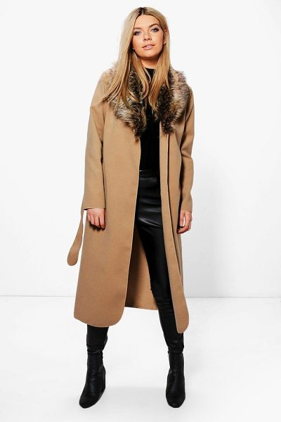 BOOHOO Faux Fur Collar Wrap Coat - Wrap up in the latest coats and jackets and get...