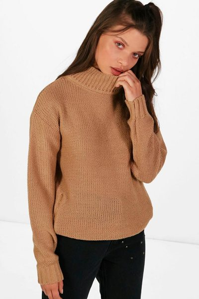 Boohoo Paige Reverse Knit Turtle Neck Side Zip Jumper in tan - Nail new season knitwear in the jumpers and cardigans...