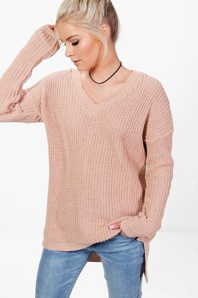 Boohoo Paige V-Neck Slouchy Jumper in nude - Sweaters are a key piece for your casual wardrobe. Think...