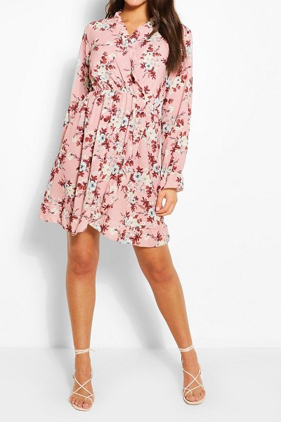 Boohoo Paisely Ruffle Neckline Tea Dress in pink