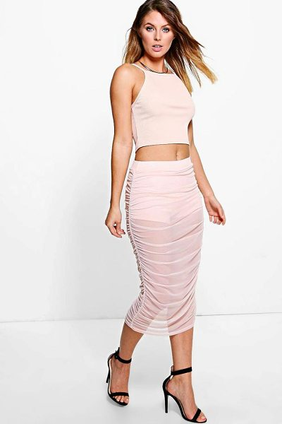 Boohoo Paola Mesh Overlay Long Line Midi Skirt in nude - Party with your pins out in a statement evening...