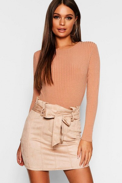 Boohoo Paperbag Belted Suedette Micro Mini Skirt in stone