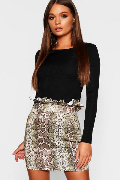 Boohoo Paperbag Waist Snake Print Mini Skirt in stone - Skirts are the statement separate in every wardrobe This...