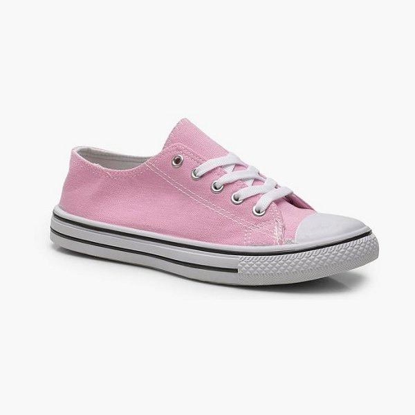 Boohoo Pastel Canvas Lace Up Pumps in pink - We'll make sure your shoes keep you one stylish step...