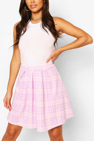 Boohoo Pastel Flannel Pleated Skater Skirt in pink