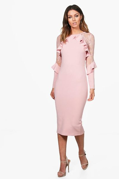 Boohoo Penelope Lace Detail Frill Midi Dress in blush - Dresses are the most-wanted wardrobe item for...