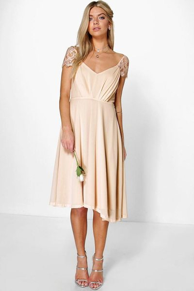 Boohoo Eyelash Lace Sleeve Chiffon Midi Skater Dress in blush - Dresses are the most-wanted wardrobe item for...