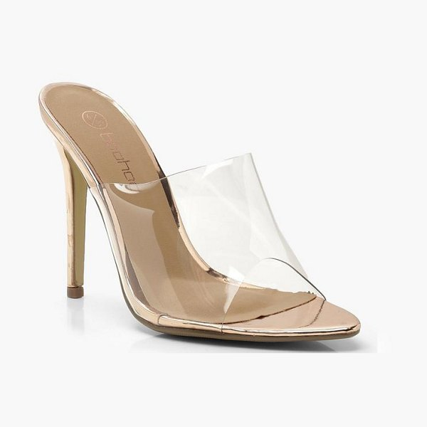 Boohoo Perspex Pointed Mule Heels in rose gold - We'll make sure your shoes keep you one stylish step...