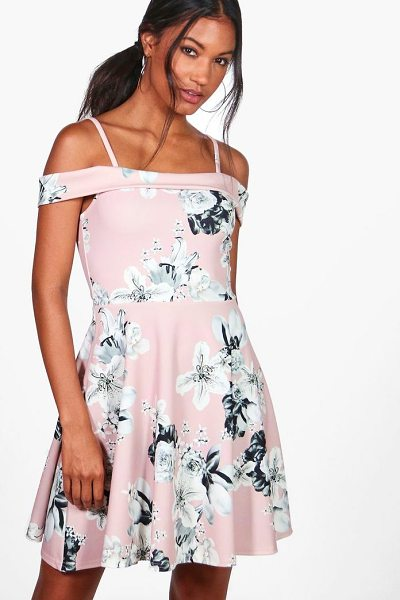 Boohoo Petra Floral Print Cold Shoulder Skater Dress in blush - Dresses are the most-wanted wardrobe item for...