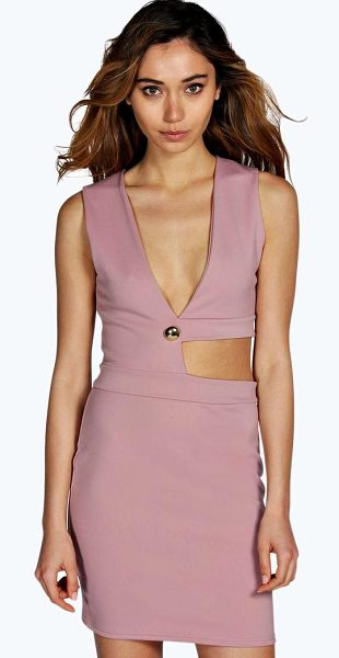Boohoo Pheobe Cut Out Plunge Neck Bodycon Dress in mauve - Dresses are the most-wanted wardrobe item for...
