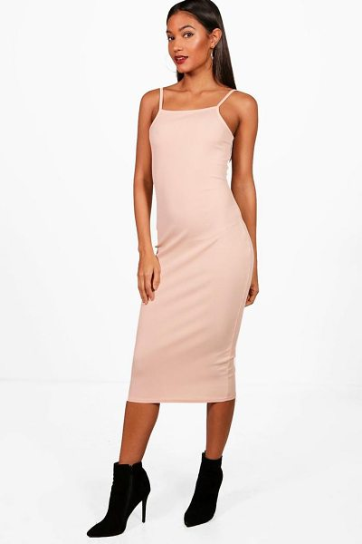 Boohoo Square Neck Ribbed Midi Bodycon Dress in khaki - Dresses are the most-wanted wardrobe item for...